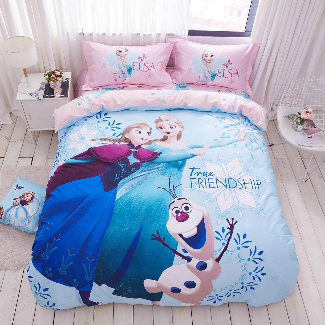 Casa 100 Cotton Kids Bedding Set Girls Frozen Elsa And Anna Princesses Blue Duvet Cover And Pillow Cases And Fitted Sheet 4 Pieces Full Home Kitchen