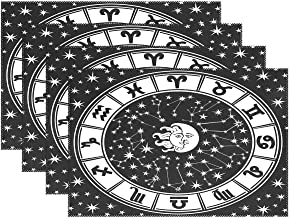 Zodiac Sign Sun and Moon Black White Placemats for Dining Table Heat Resistant Kitchen Table Decor Washable Table Mats Set of 4