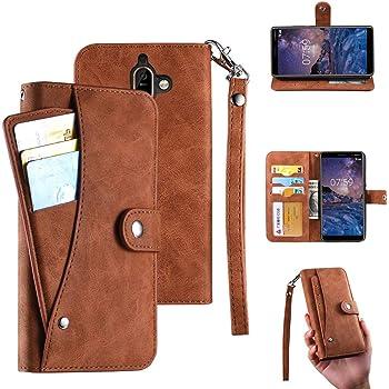 Funda para Nokia 7 Plus, Nokia 7 Plus Funda Cartera, Funda Tipo Cartera De Lujo Premier Diary con 6 Tarjeta Ranuras Cartera Pu Cuero y Correa para la muñeca para Asus Nokia 7 Plus (Marrón)