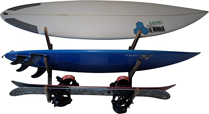 Mensola tavola da surf per muro-  regge 3 tavole da surf   espositore per tavole da surf cor board racks Rack-02