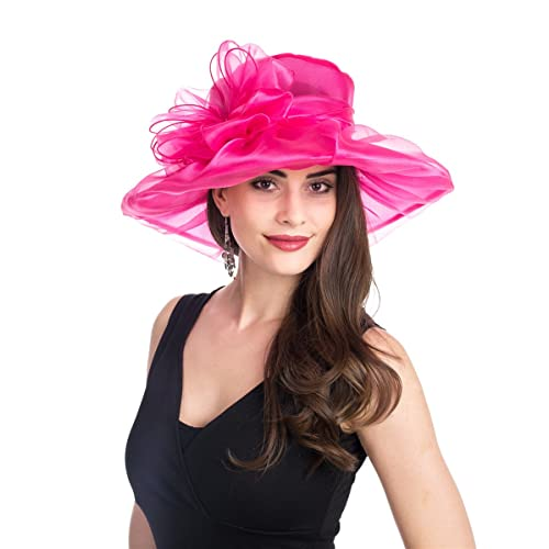 SAFERIN Women s Organza Church Kentucky Derby Fascinator Bridal Tea Party  Wedding Hat d036921a74a
