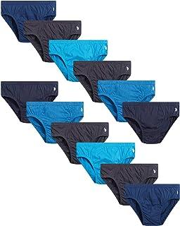 U.S. Polo Assn. Men's Underwear - Low Rise Briefs (12 Pack), Grey/Blue, Size Medium