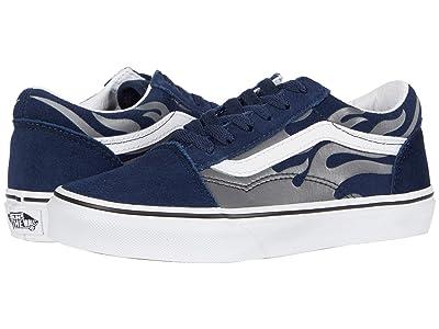 Vans Kids Old Skool (Little Kid) ((Suede Flame) Dress Blues/True White) Boys Shoes