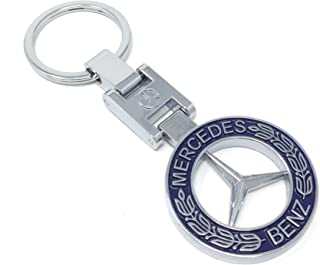 eShop24x7 Mercedes Heavy Metal Dual Side Chrome Plated Steel Imported Key Chain Key Ring car Logo for B C D M R GL SL Class