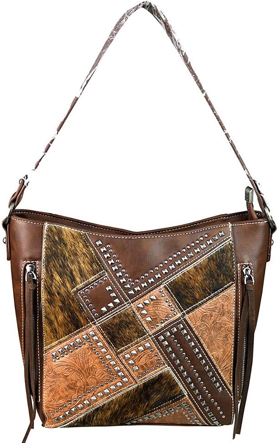 Trinity Ranch Concealed Carry HaironHide Studded Hobo  Coffee