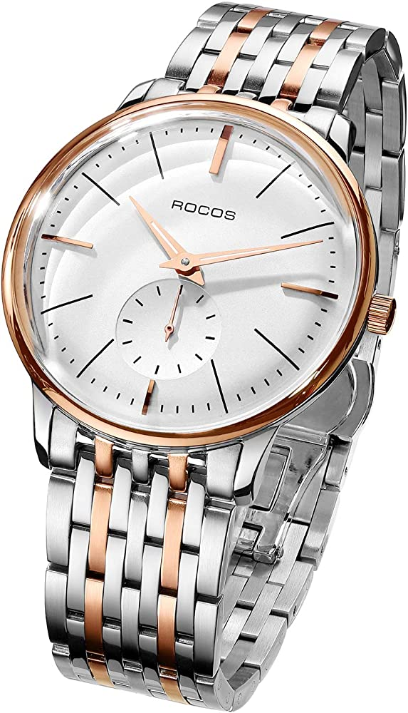 Rocos, orologio automatico da uomo,in acciaio inossidabile argento con finitura lucida,con maglie in oro rosa R0140