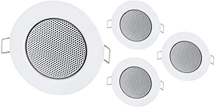 4Pack–Empotrable Mini Altavoz Altavoz de Techo de Metal–Halógeno de diseño–Blanco