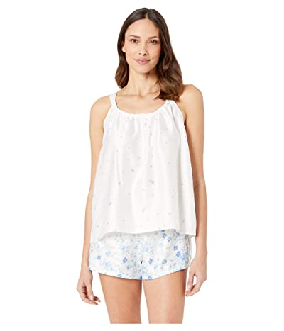 LAUREN Ralph Lauren Sleeveless Ruched Neck Cami Tap Set (Ivory Floral) Women