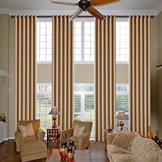 cololeaf Living Room Grommet Curtains for High Ceiling Wall Panels Sunlight Heat Blocking Drapes for Country House Hall Gallery - Wheat 52W x 156L Inch (1 Panel)