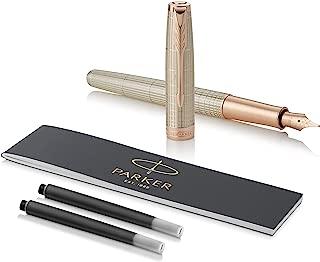 PARKER Sonnet Fountain Pen, Prestige Chiselled Silver with Rose Gold Trim, Solid 18k Gold Medium Nib