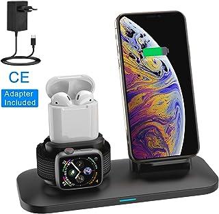 Soporte de Carga para Apple Watch, Estación de Carga Rápida Qi Inalámbrica 3 en 1 Soportes de Carga de para Phone X XS MAX 8 Plus y Teléfonos Qi-Enabled AirPods e iWatch Series 4/3/2/1