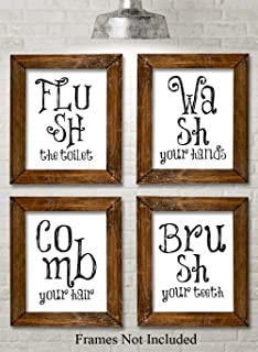 Bathroom Quotes and Sayings Art Prints - Set of Four Photos (11x14) Unframed - Makes a Great Gift Under $25 for Bathroom Decor
