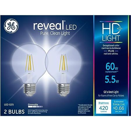 Dimmable GE Incandescent 60W Reveal Light Bulbs Medium Base 72pk