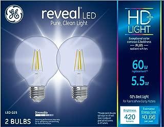 GE Lighting 31858 Clear Finish Light Bulb Dimmable LED Reveal HD G25 Decorative Globe 5.5 (60-Watt Replacement), 420-Lumen Medium Base, 2-Pack, 2