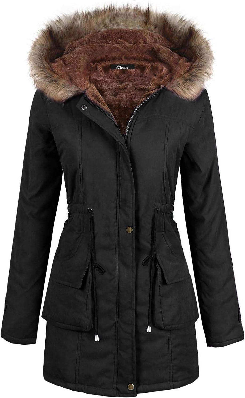iClosam Women Parka Winter Long Coat Faux Fur Lined Anroak Jacket with Hood