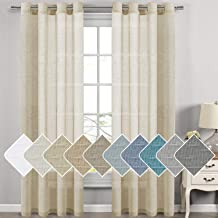 H.VERSAILTEX Natural Linen Sheer Curtains for Living Room/Dining Room, Extra Long Curtains Made of Rich Linen Soft Material, Nickel Grommet Window Panel Drapes (Set of 2, 52 by 108 Inch, Beige)