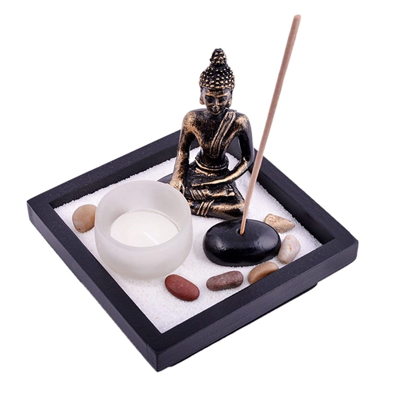 国籍不明瞭分散Thy Collectibles Asian Japanese Feng Shui砂Zen Garden Buddha Tealight & Incense Holder yd50