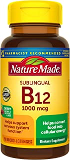 Nature Made Sublingual Vitamin B12 1000 mcg Micro-Lozenges, 150 Count for Metabolic Health