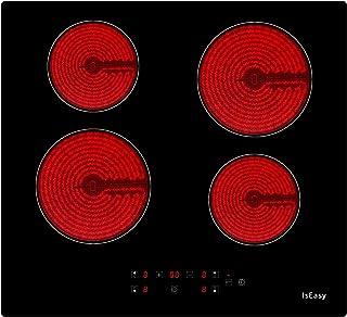 Plaque de Cuisson Vitrocéramique Electrique- (6000W, 4 Foyers, 60cm, Encastrable, Intégré, Autarkic, Tactile, Minuteur, Ve...