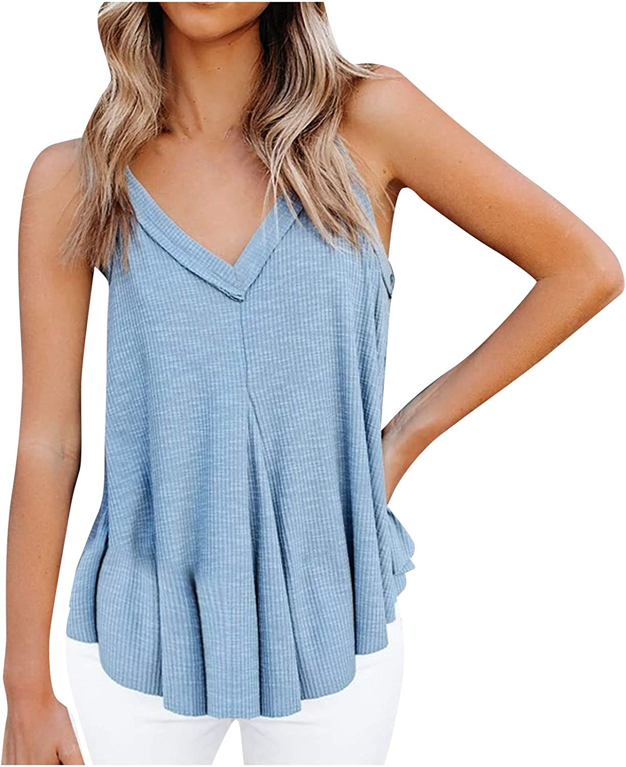 SHOPESSA Flare Tank Tops for Women Solid Color V Neck Womens Camisoles and Tanks Casual Swing Shirt