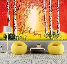 Papel Pintado Papel De Pared 3D Fotomurales Dibujos Animados Bosque Rojo Cielo Cervatillo Paisaje Natural Papel Pintado Pa...