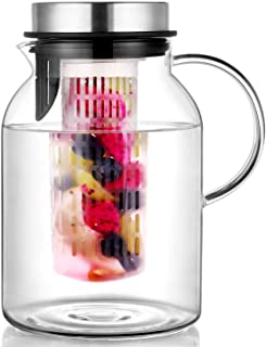 Hiware Glass Fruit Infuser Water Pitcher with Removable Lid, High Heat Resistance Infusion Pitcher for Hot/Cold Water, Fla...