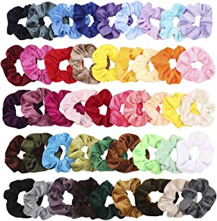 ZZICEN Hair Scrunchies Velvet Elastic Hair Bands Scrunchy Hair Ties Ropes Scrunchie for Women or Girls Hair Accessories - 46 Assorted