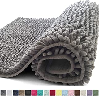 Kangaroo Plush Luxury Chenille Bath Rug, 24x17, Extra Soft and Absorbent Shaggy Bathroom Mat Rugs, Washable, Strong Underside, Plush Carpet Mats for Kids Tub, Shower, and Bath Room, Gray