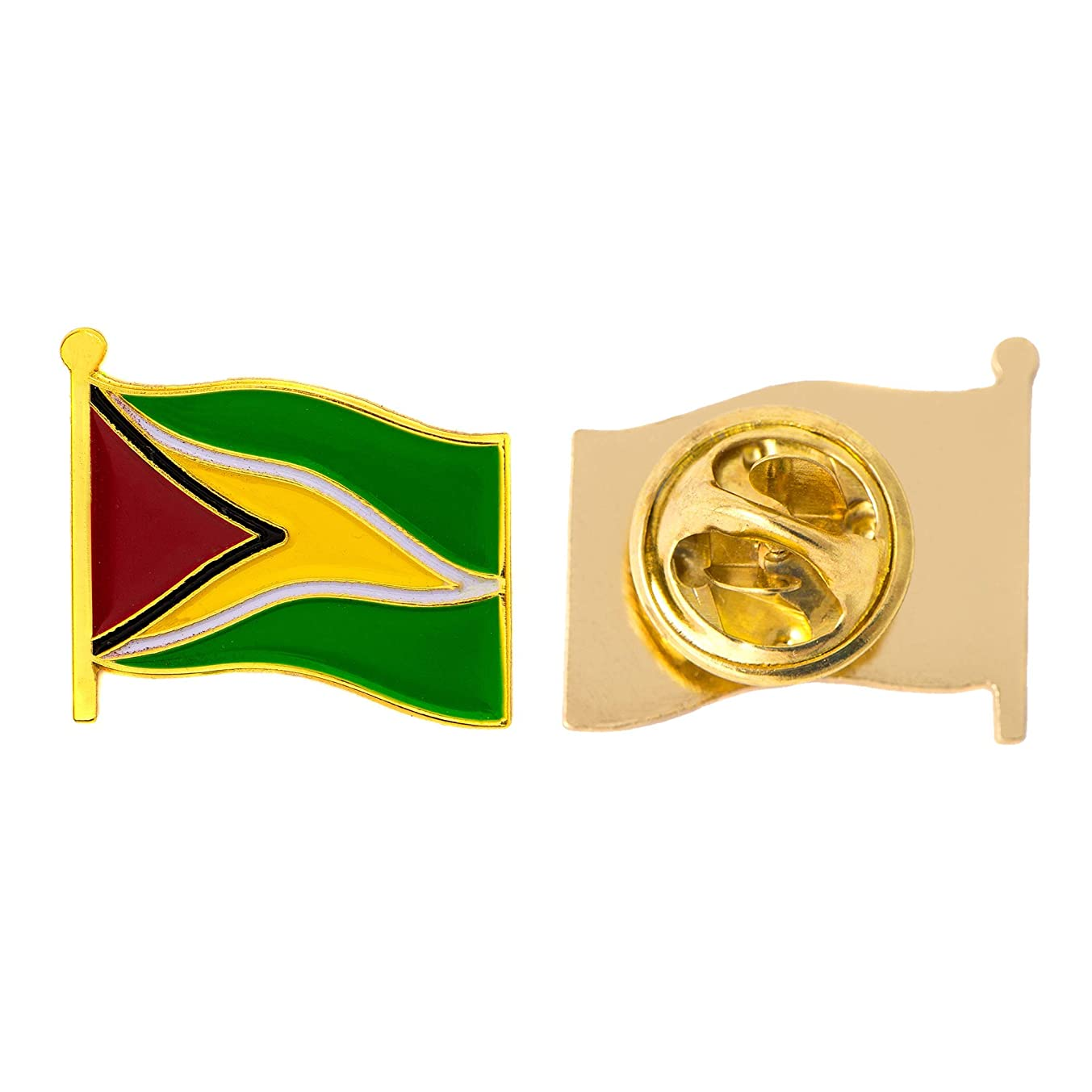 Guyana Country Flag Lapel Pin Enamel Made of Metal Souvenir Hat Men Women Patriotic (Waving Flag Lapel Pin)