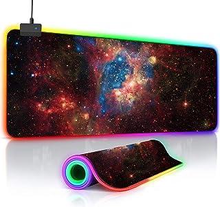 O'woda RGB Gaming Mauspad 800x300x4mm,übergroß mit 14 LED Beleuchtungs Modi,Rutschfeste Gummiunterseite Wasserdichter Oberfläche,Anti Rutsch Matte für Computer PC und Professionelle Gamer (Universum)