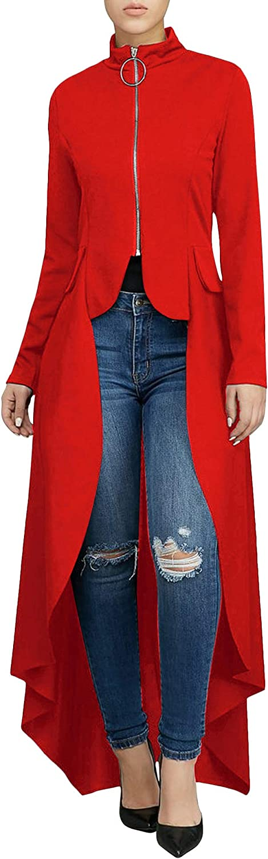 Christ Warner Womens Long Dovetail Gothic Trench Coat Polka Dot Zipper Up Tailcoat Jacket