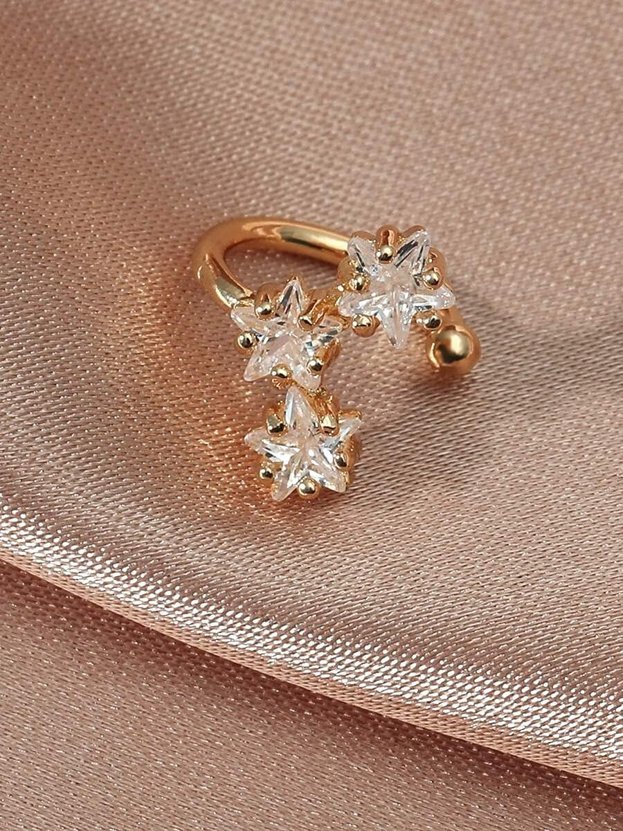 AXJTNL Hoop Earrings Zircon Decor Ear Cuff (Color : Gold)