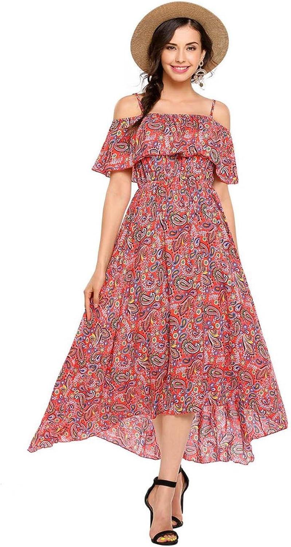 Strap Ruffle Long Women Dress Elastic Pleated Hem Summer Vestido