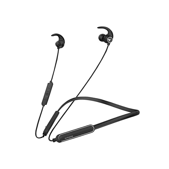 Wings Ryder Neckband Bluetooth 5.0 Wireless Earphones, Fast Charging Battery, Qualcomm Chipset, Upto 14 Hours Playtime, Metallic Earbuds (Black)