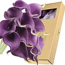 FiveSeasonStuff Real Touch Calla Lilies Artificial Flowers Wedding Bridal Bouquet Home Décor Party |Floral Arrangments | 15 Stems (Plum Purple)