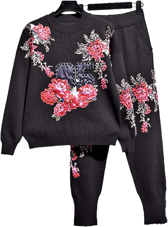Black Knitted Tracksuits Women Set Trust Handwork service Swea Beading Flowers