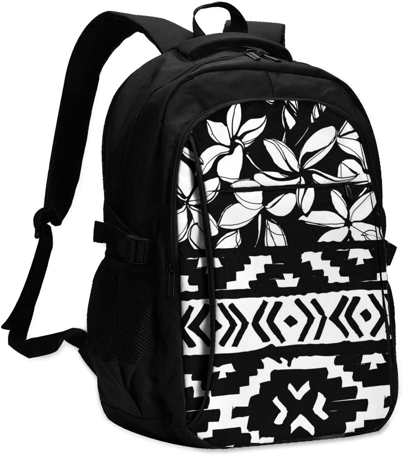 KAETZRU Laptop Backpacks with USB Aztec We OFFer at Arlington Mall cheap prices Tribal Geome Black White
