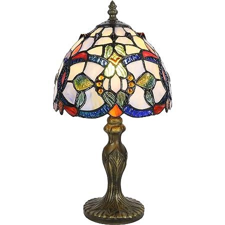 Tokira Tiffany Lampe de Table, 8 Pouces Baroque Abat-jour en Verre Multicolore, Bleu Retro Veilleuse Chambre Chevet, Lampe de Table Salon Chambre, Ampoule LED Gratuite