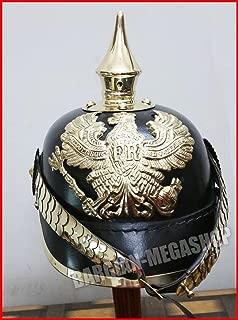 Prussian Leather Pickelhaube German Helmet WW1 W/ Enlist Spike Chin Scale Armor