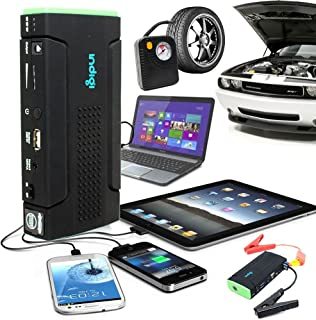 Indigi Heavy Duty Portable Battery Power Bank Jump Starter w/ Tire Air Compressor Inflators Bundled