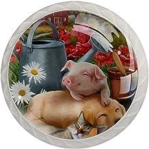 Lade knoppen ronde kristallen glazen kast handgrepen Pull 4 Pcs,Varken kat hond cabine water pot