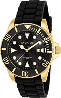 Invicta Men's Pro Diver 44mm Black Stainless Steel and Silicone Quartz Watch, Black (Model: 90303)