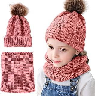 Toddler Kids Knitted Beanie Hat & Neck Warmer Scarf Set,Crochet Hairball Cap for Baby Grils Boys