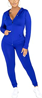Women`s 2 Piece Outfits - Sweatsuits Jogger Sets Long Sleeve Zip Up Hoodie Jackets + Long Pants Tracksuit Activewear