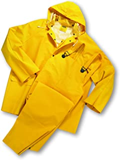 West Chester 4035FR Polyester Rain Suit [Yellow] X-Large, 0.35 mm PVC Coating, Limited Flammability, Flame Resistant Suit