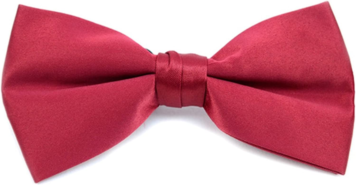 Men's Burgundy Solid Pre-Tied Bow Tie Basic