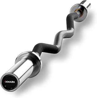 XMark XM-3675 Olympic EZ Curl Bar with Brass Bushings and Optional Texas Star Olympic Plate Weight Sets