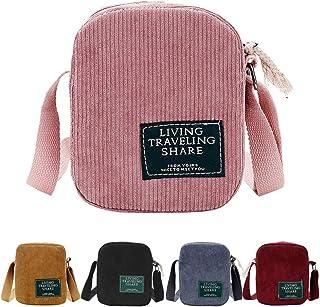 AuSion Small Corduroy Crossbody Bag Cell Phone Purse Shoulder Messenger Handbags for Women Girl Outdoor Travel