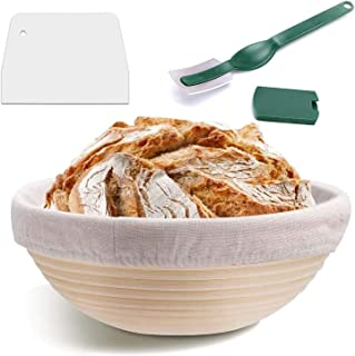 Home-Mart 9 Inch Round Banneton Proofing Basket Set - Banneton Proofing Basket + Cloth Liner + Dough Scraper + Bread Lame ...