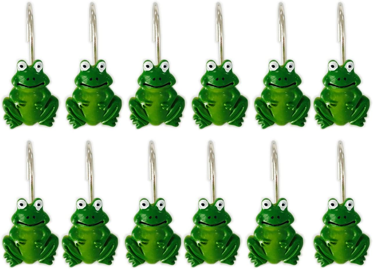 YING CHIC YYC Set of Max 52% OFF Free shipping on posting reviews 12 Curtain Shower Cartoon Frog Resin Hooks